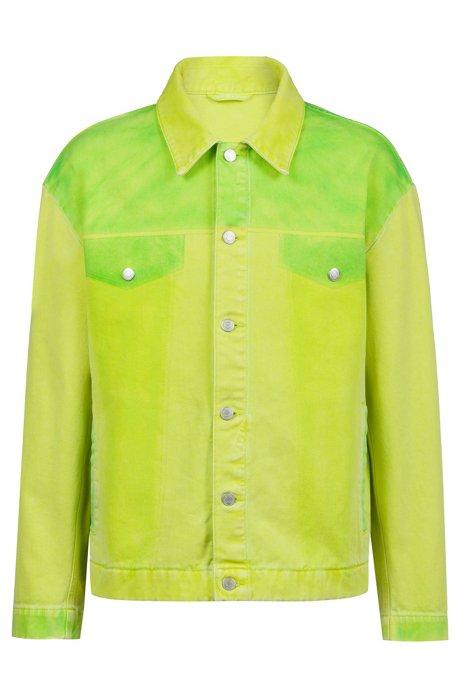Oversized Jacke aus überfärbtem Denim, Gelb
