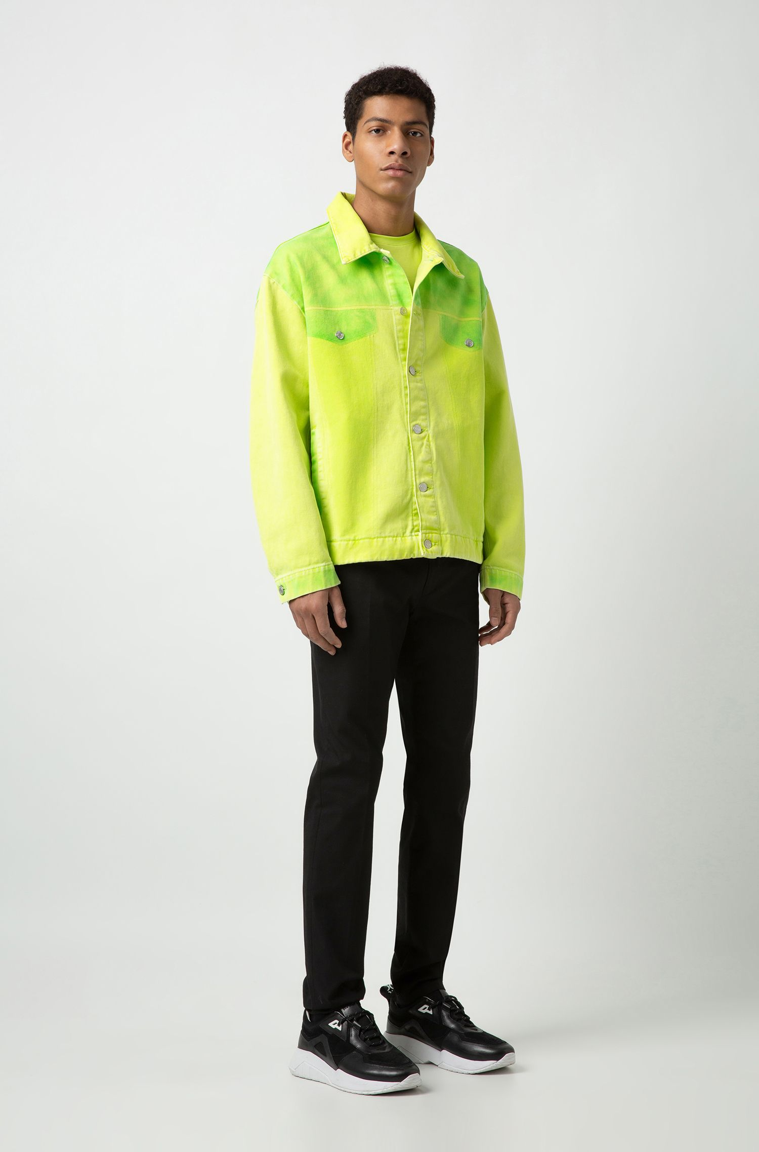 Oversized-fit jacket in overdyed denim, Yellow