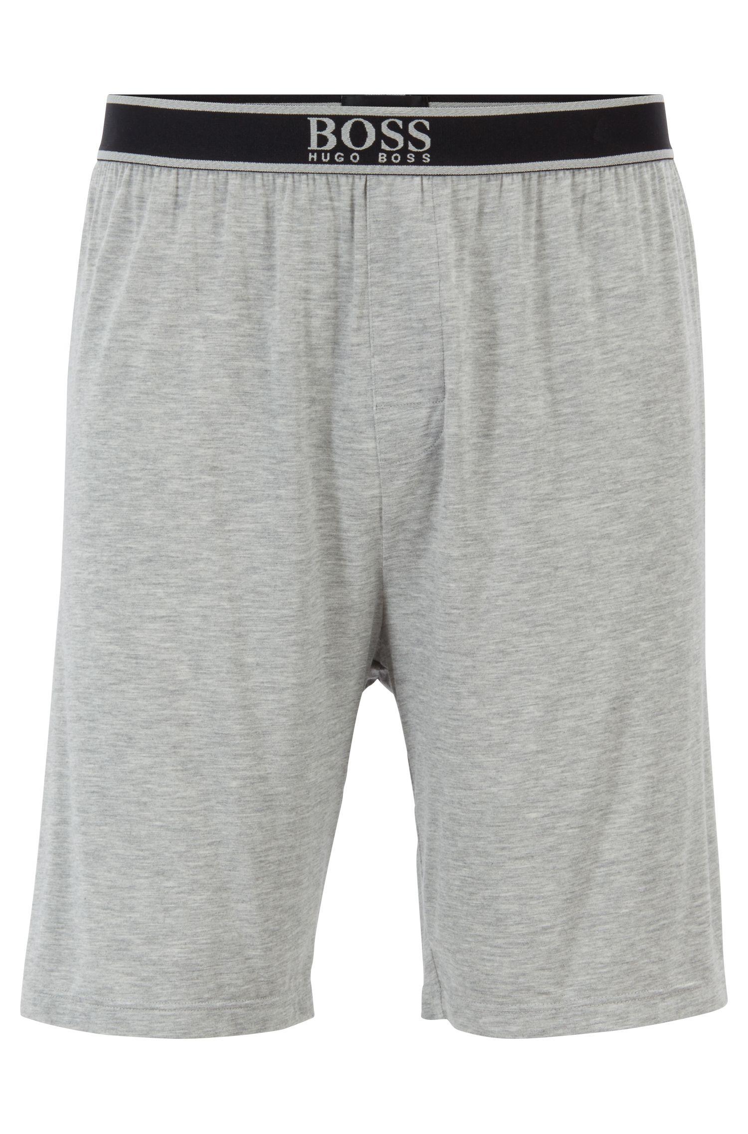 Stretch-modal pyjama shorts with exposed waistband, Grey