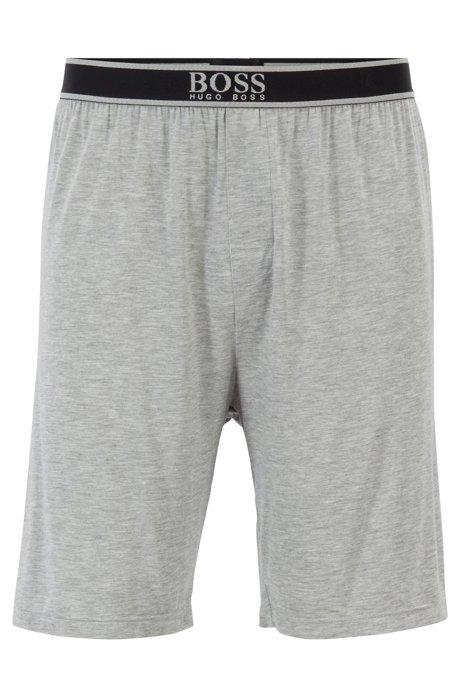 Pyjama-Shorts aus Stretch-Modal mit sichtbarem Bund, Grau