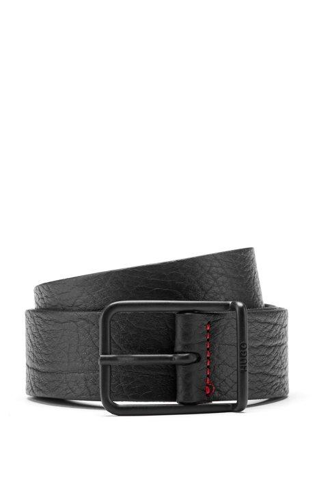 In Italien gefertigter Gürtel aus geprägtem Leder mit charakteristischen Naht-Details, Schwarz