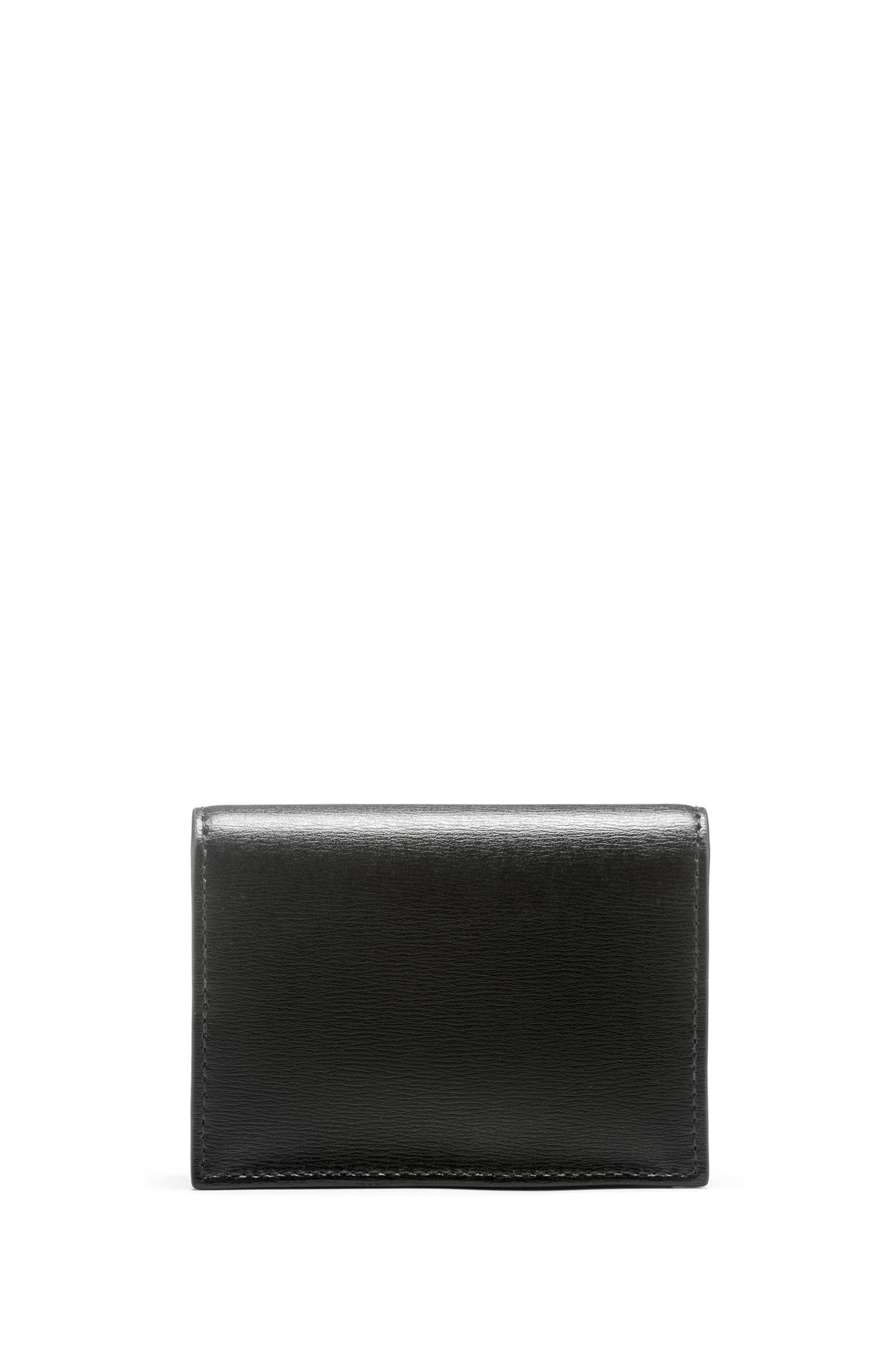 Card holder in palmellato leather with polished metal logo, Black