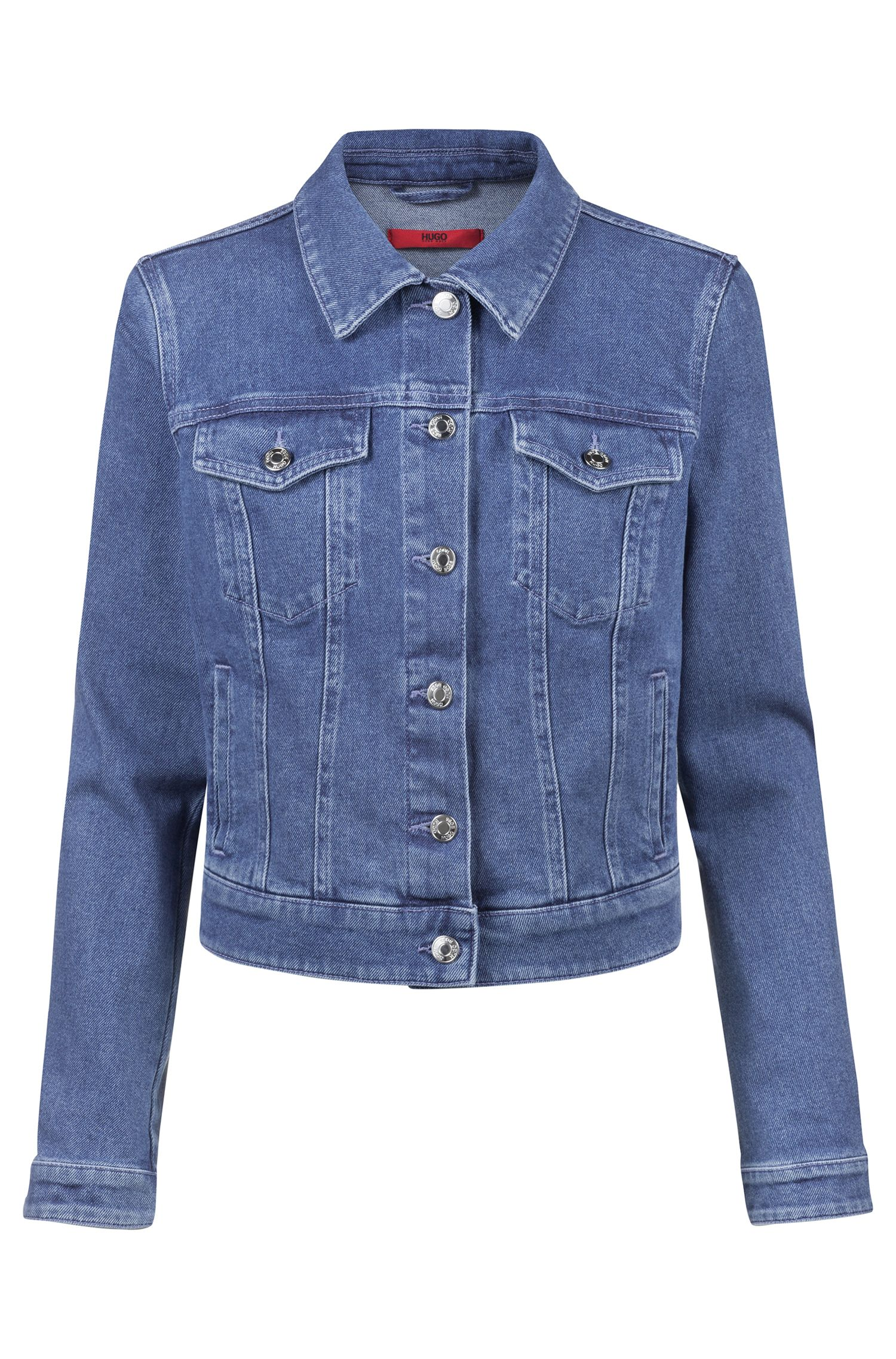 Slim-fit jacket in stretch denim with buttoned pockets, Blue