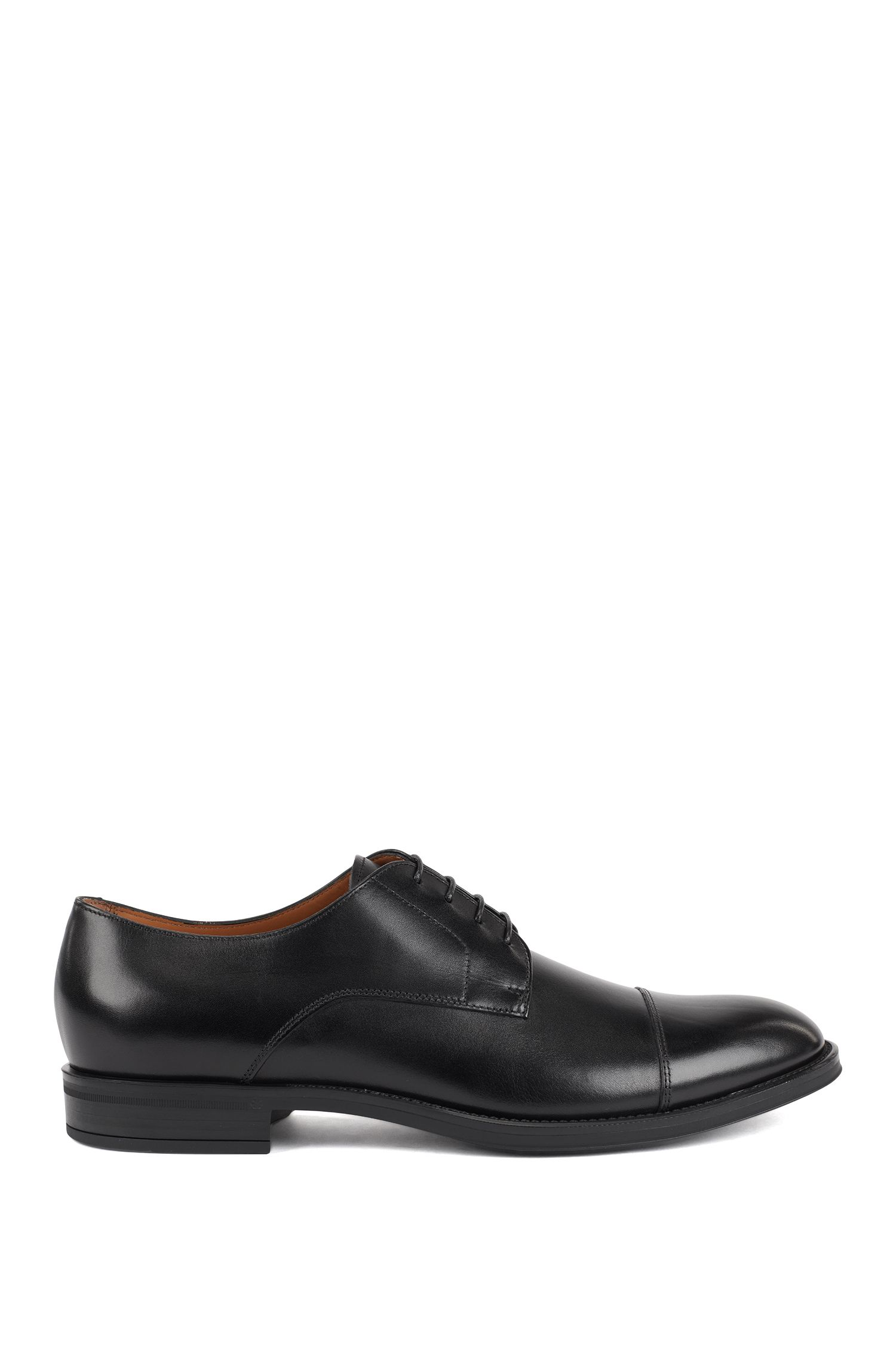 Derby shoes in burnished calf leather, Black