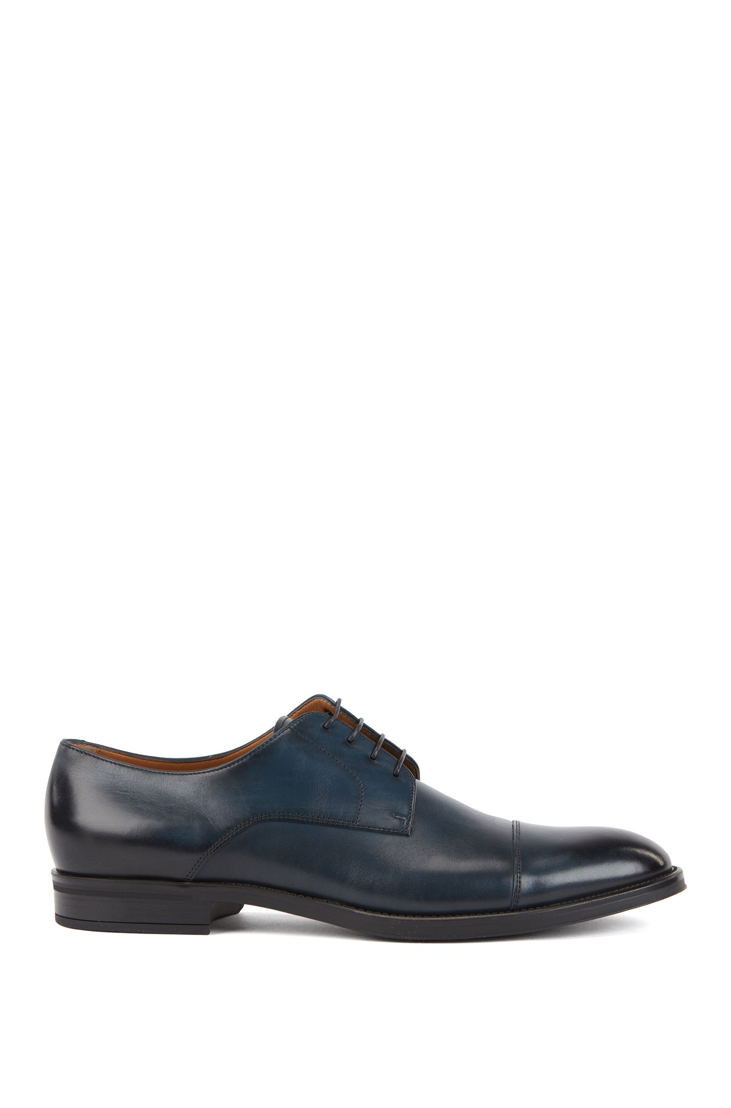 Derby shoes in burnished calf leather, Dark Blue