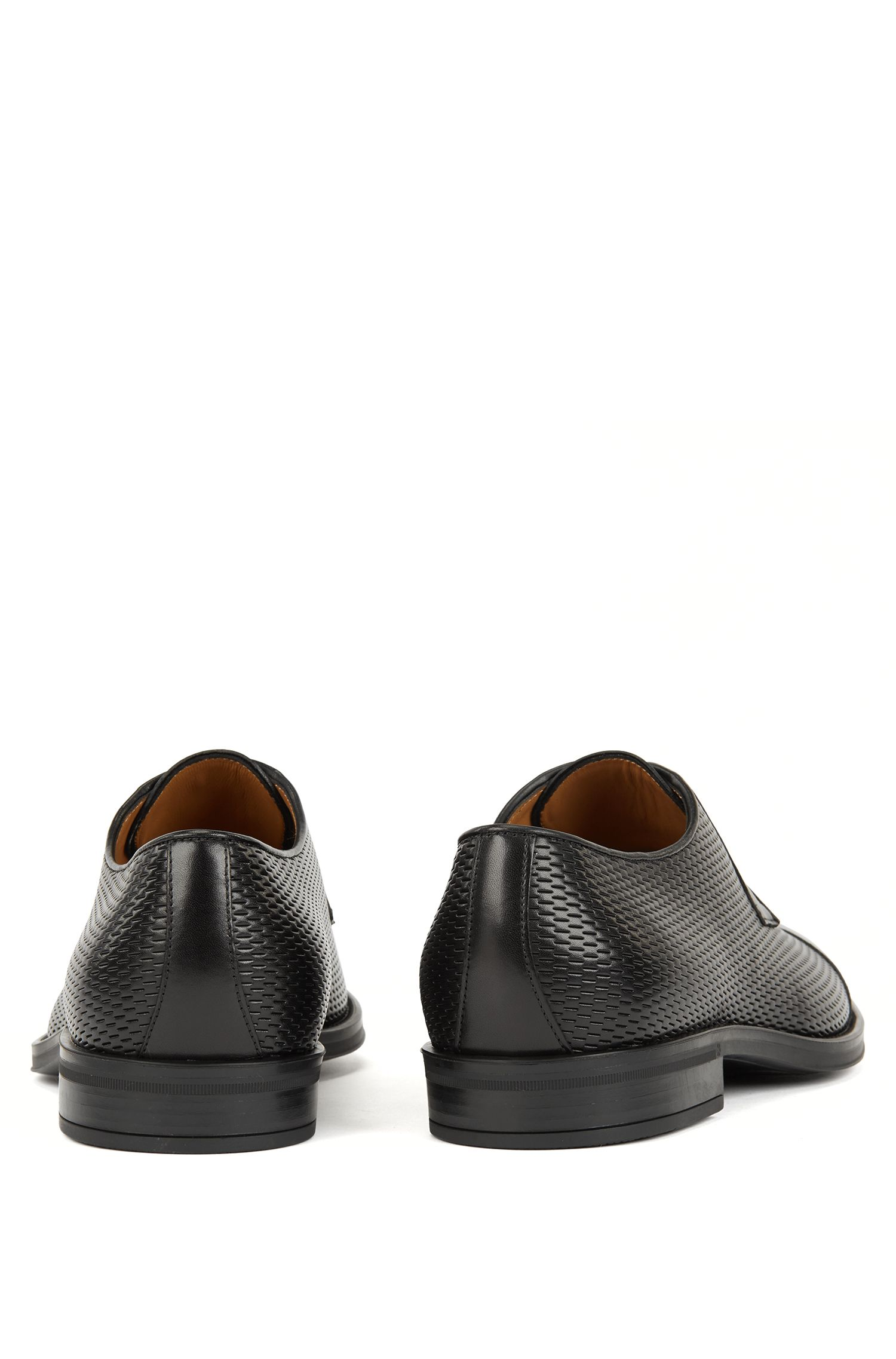 Italian-made Derby shoes with embossed leather panels, Black
