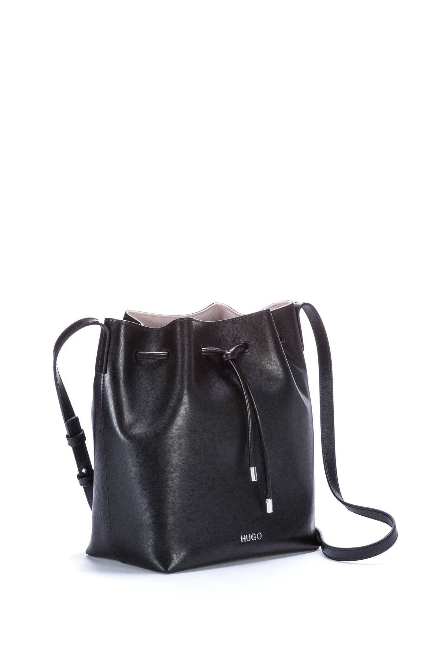 Drawstring bucket bag in printed Italian leather, Black