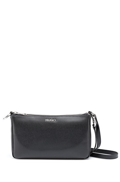 Mini bag in printed Italian leather with detachable strap, Black