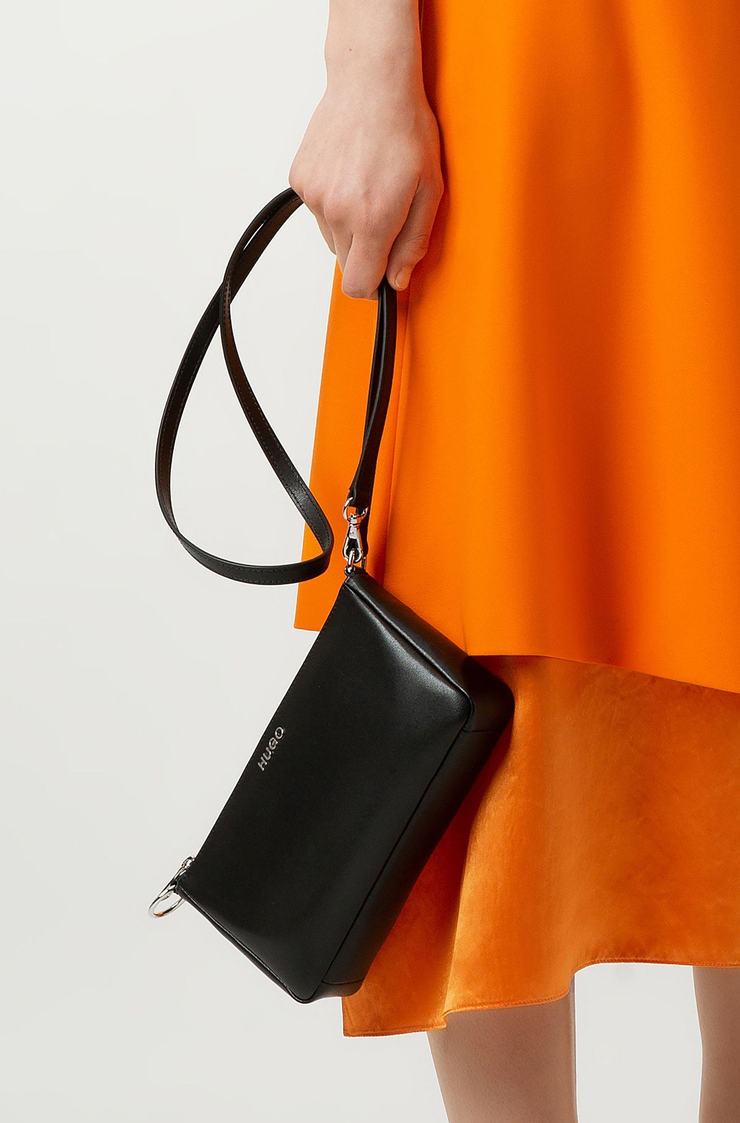Mini sac en cuir italien imprimé, avec bandoulière amovible, Noir