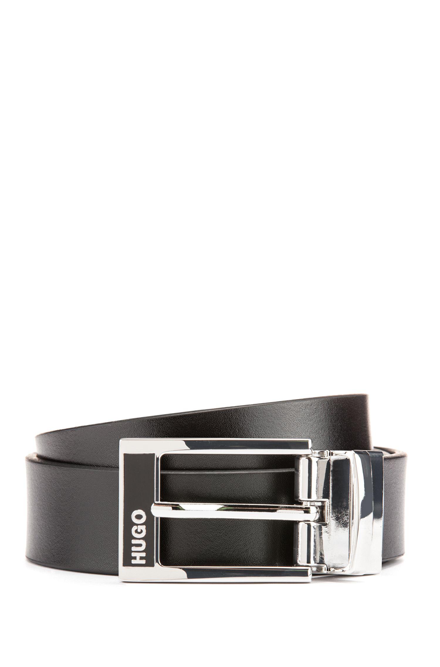 Cinturón de piel lisa con hebillas intercambiables en caja de regalo, Negro