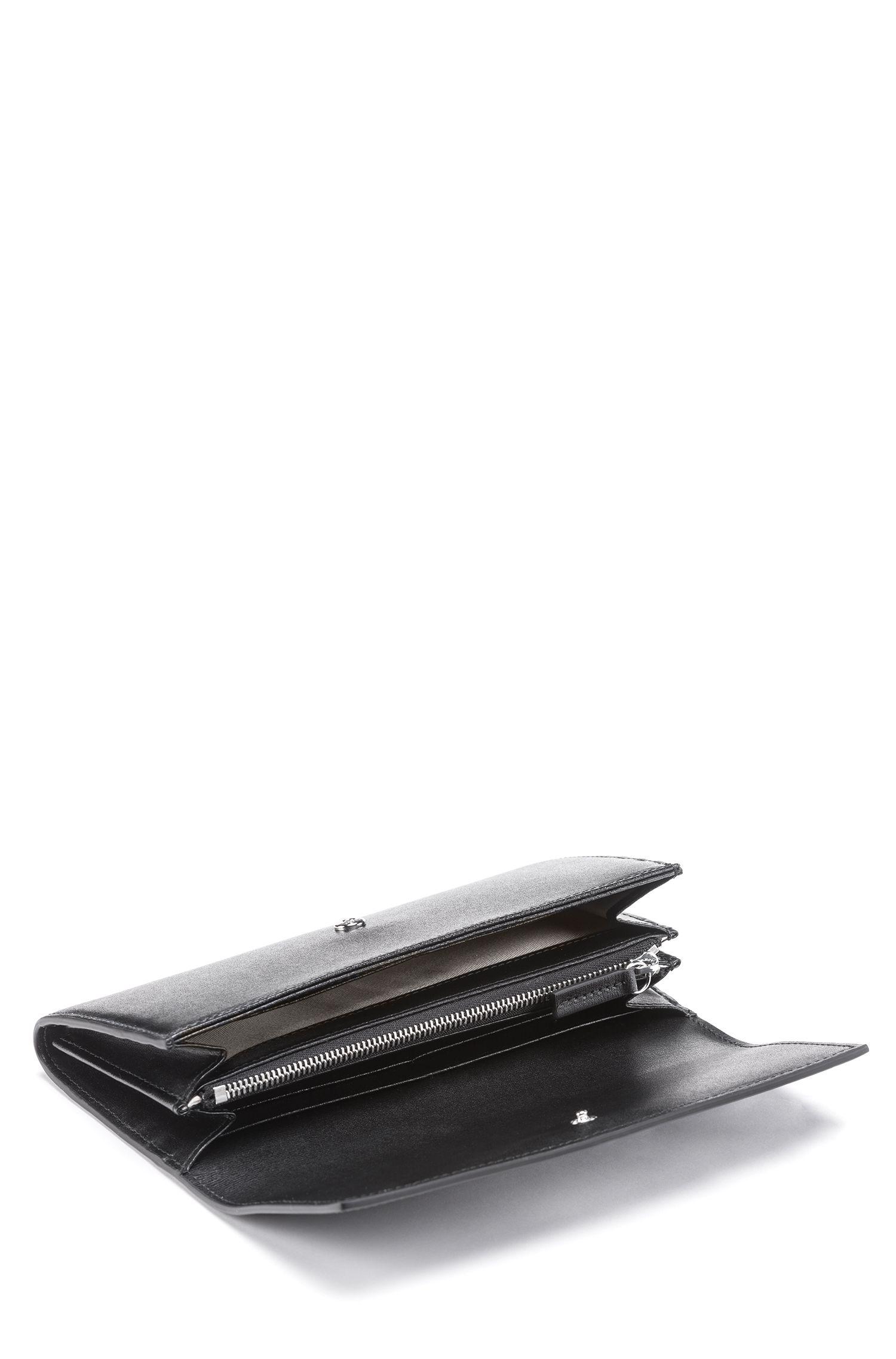 Portefeuille long en cuir palmellato italien à lettrage métallique, Noir