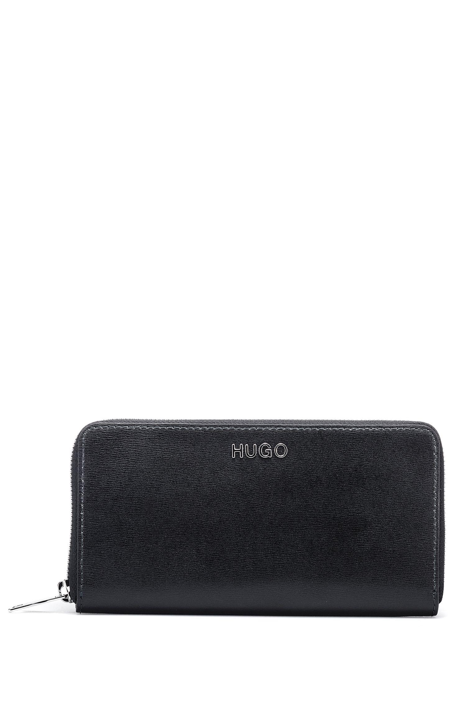 Portafoglio in pelle stampata italiana con zip integrale, Nero