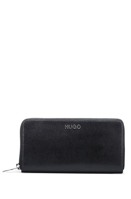 Zip-around wallet in printed Italian leather, Black