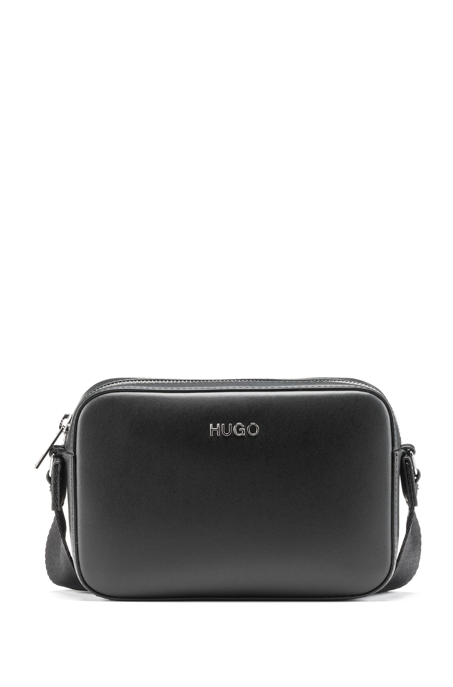 Crossbody bag in Italian leather with logo strap, Black