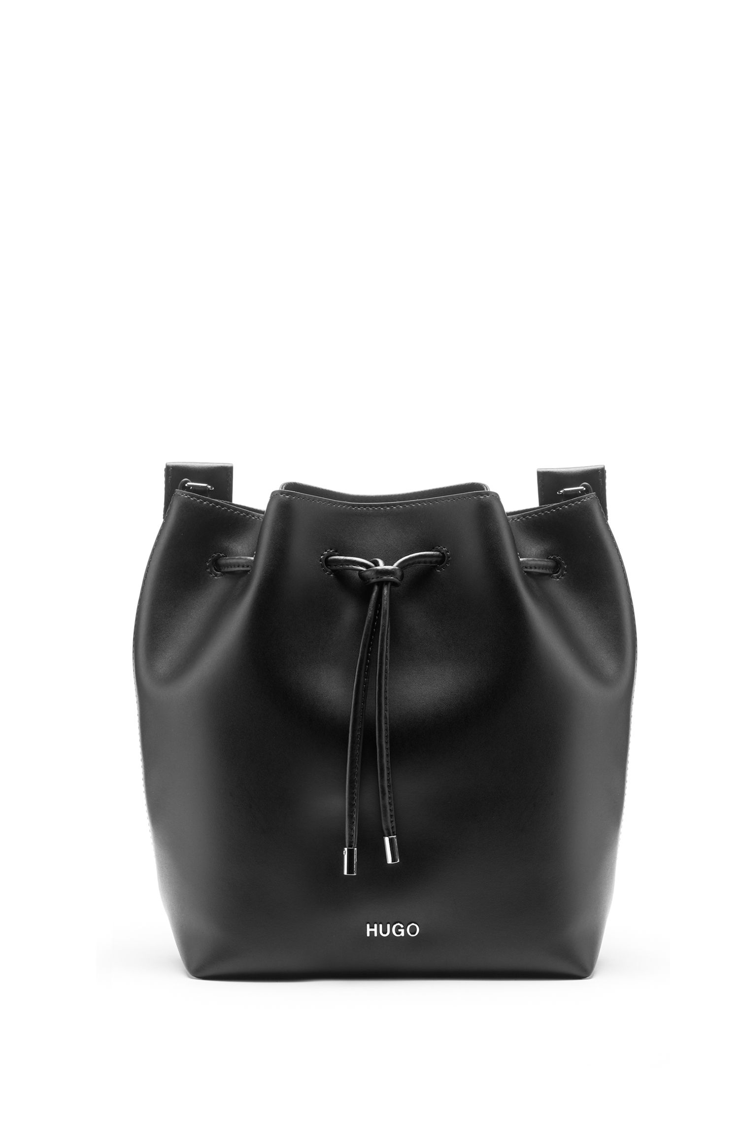 Drawstring bag in Italian leather with repeat-logo strap, Black