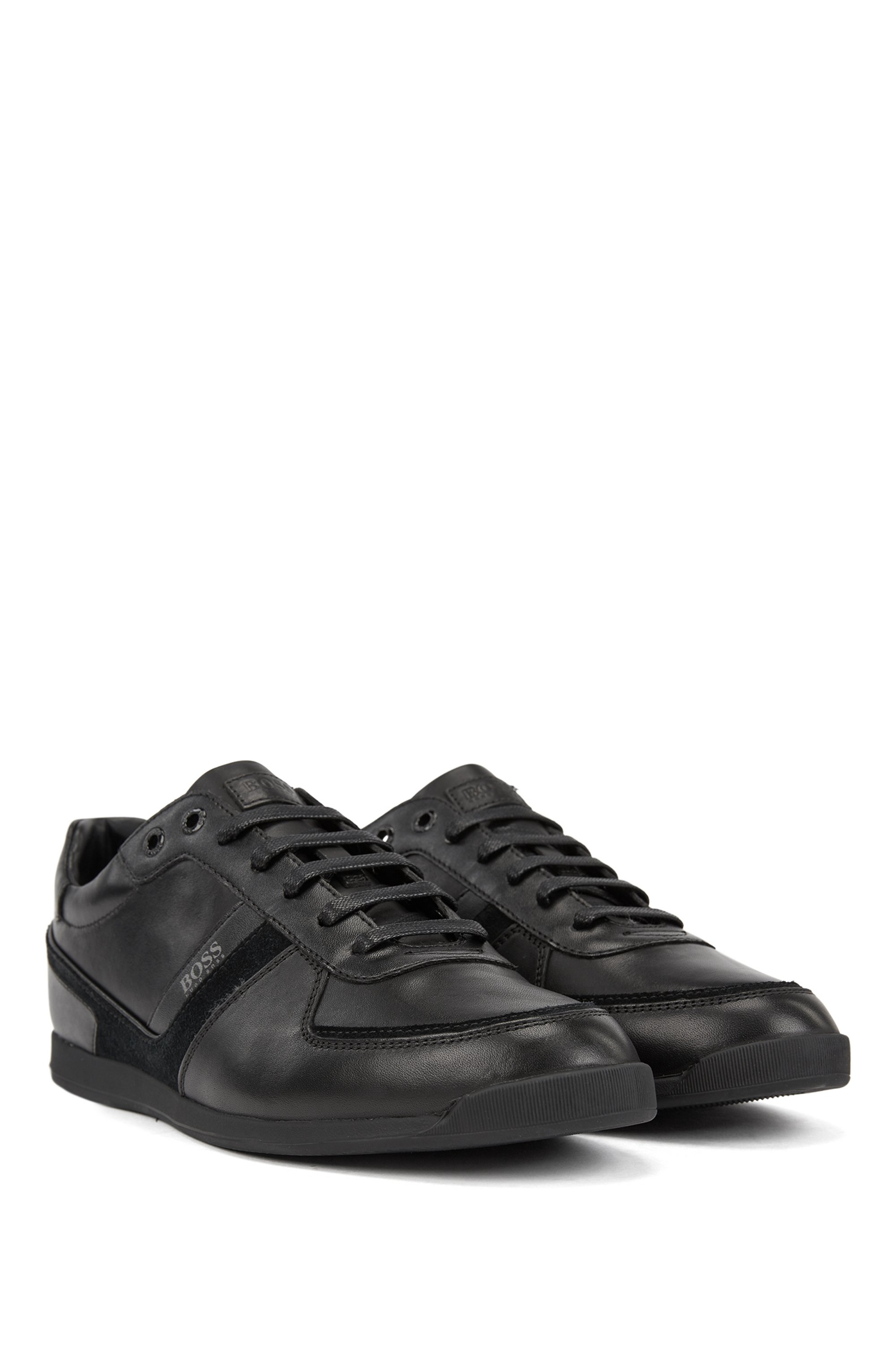 Low-profile leather trainers with bamboo-charcoal lining