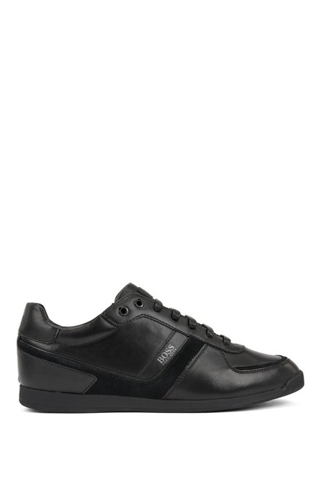 Low-profile trainers in nappa leather and suede, Black