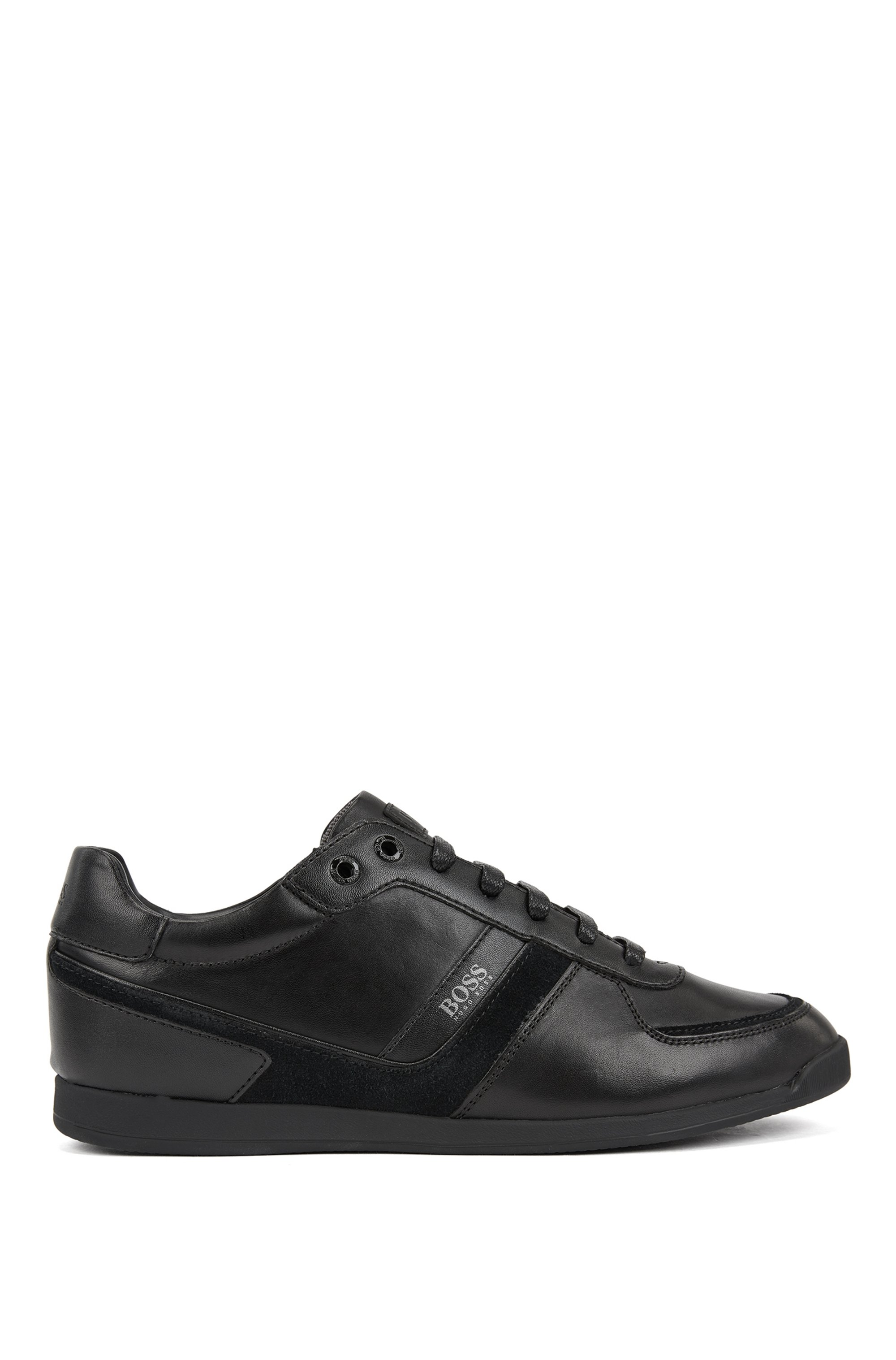 Low-profile leather trainers with bamboo-charcoal lining, Black