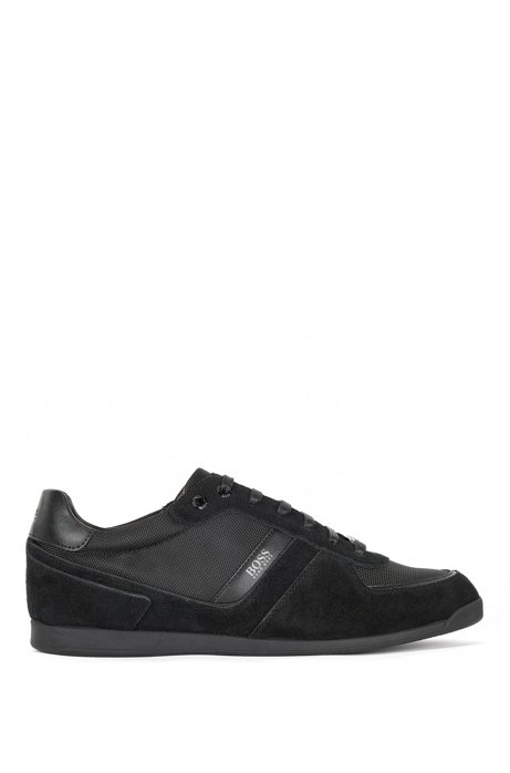 Low-profile trainers with suede and technical mesh uppers, Black