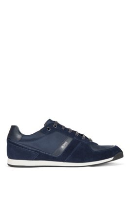Low-top trainers in leather, suede and technical fabric, Dark Blue