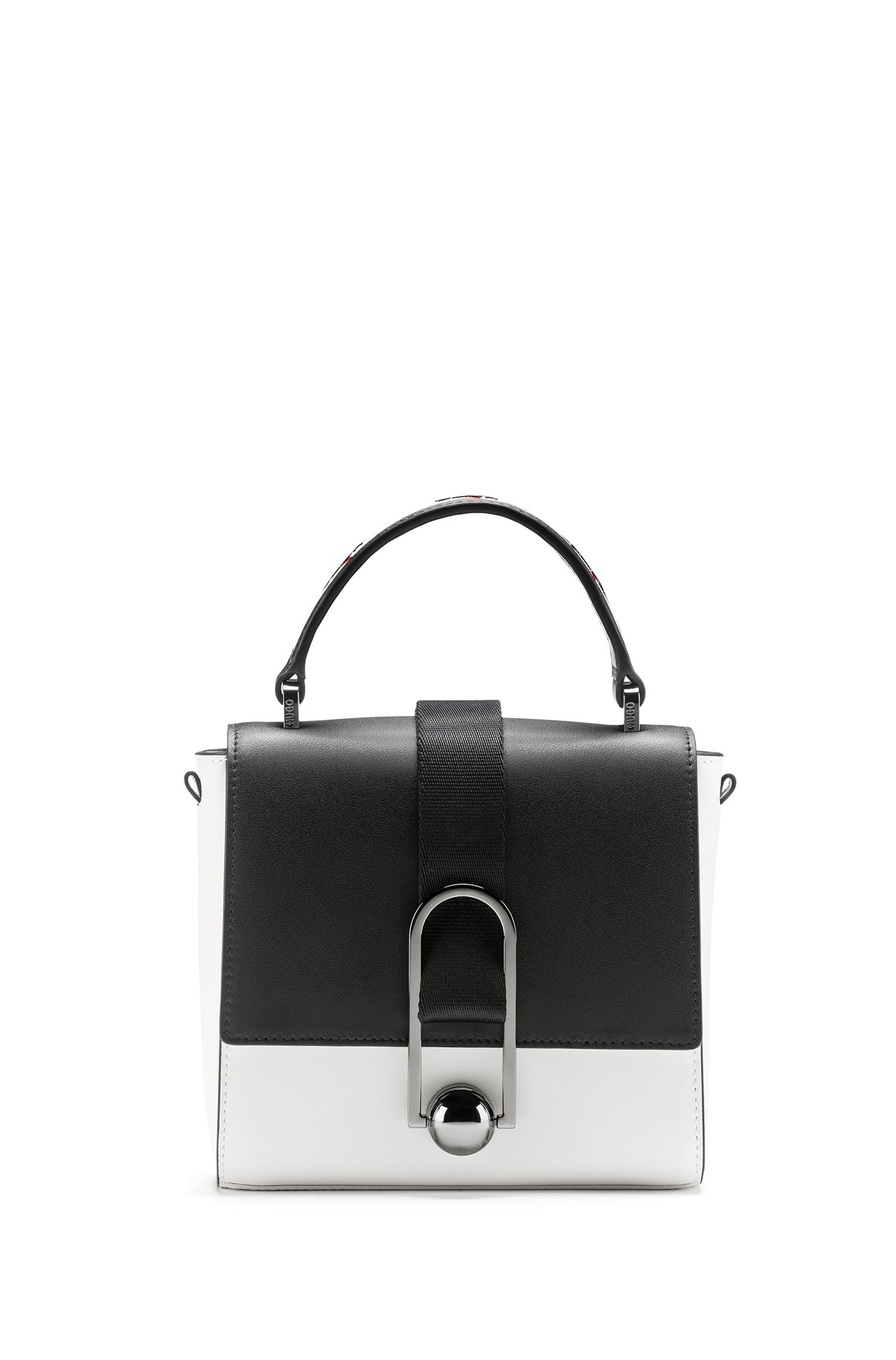 Top-handle handbag in Italian leather with rubberised finish, Open White