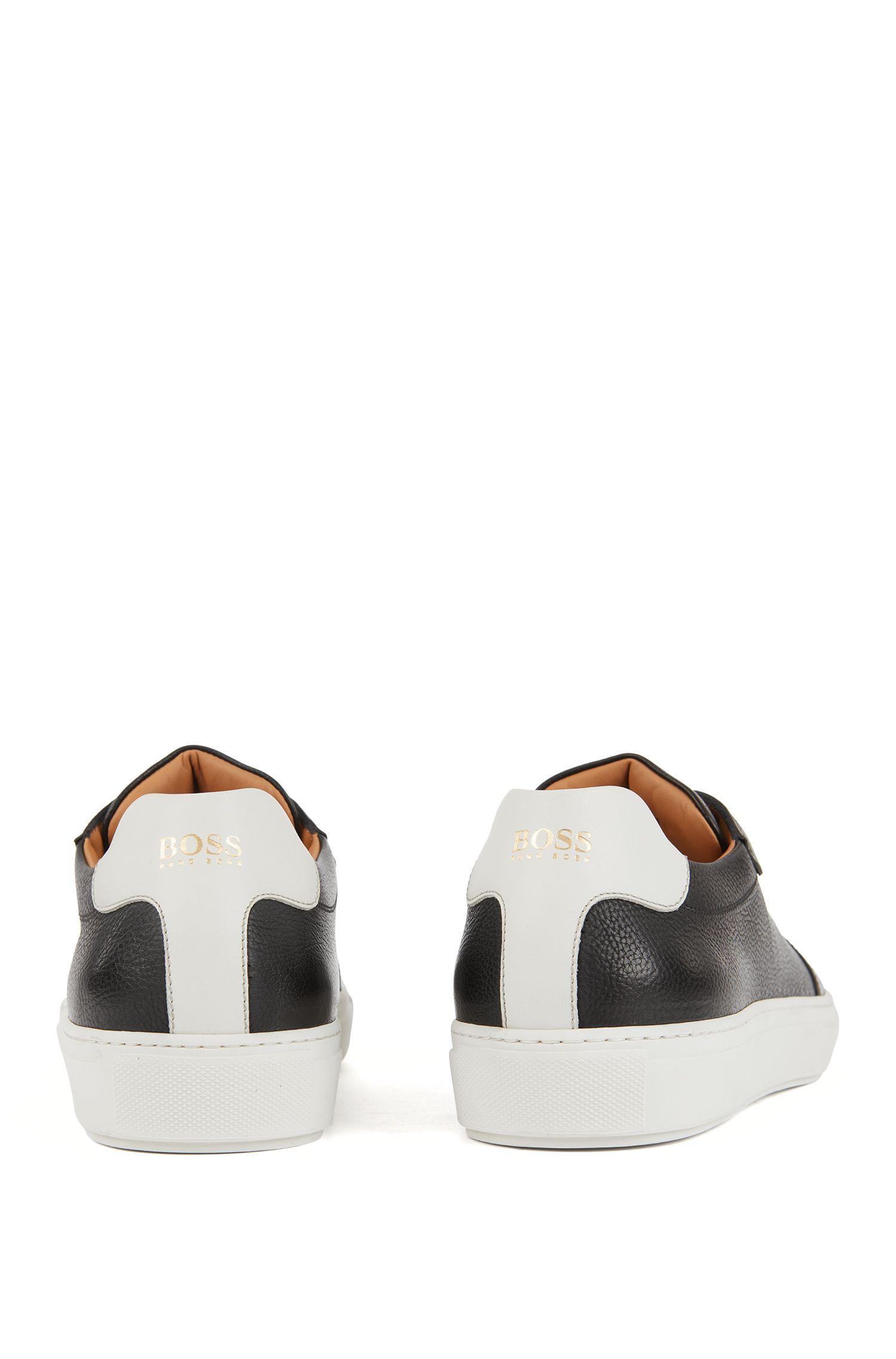 Leder-Sneakersmit Kontrast-Details, Schwarz