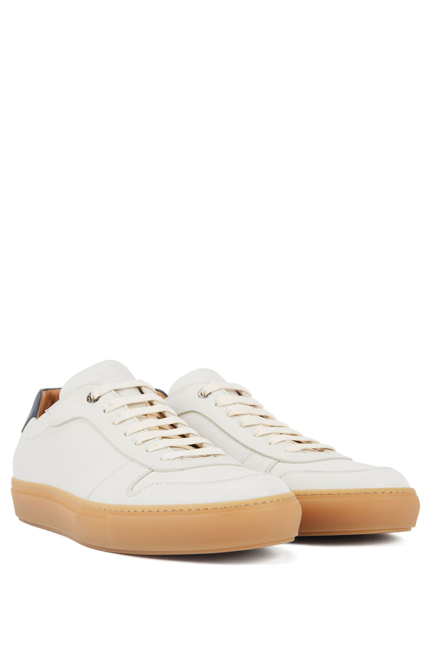 Tennis-inspired trainers in calf leather with contrast collar, White