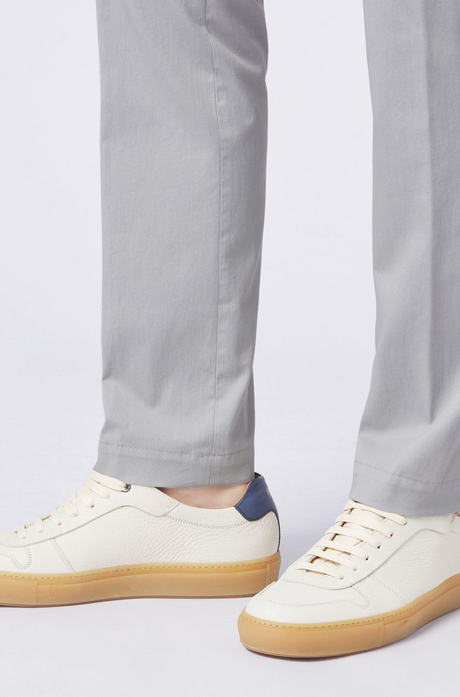 Leder-Sneakersmit Kontrast-Details, Weiß