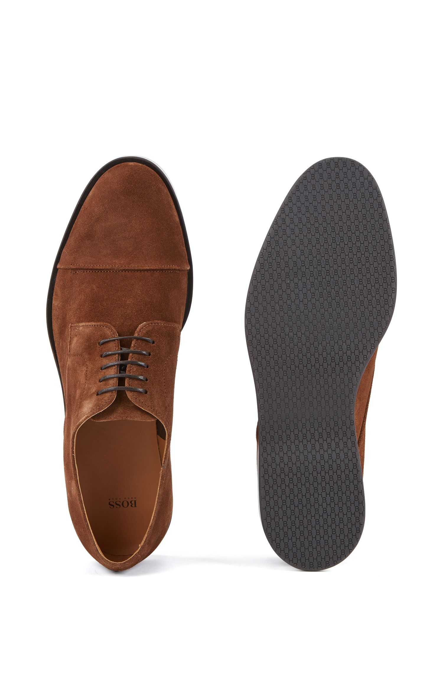 Casual Derby shoes in calf suede with monogram sole, Brown