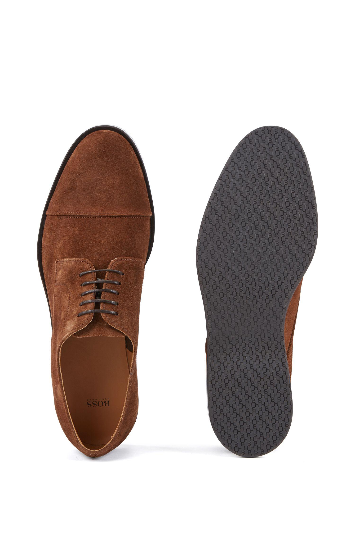 Zapatos Derby casual en ante de becerro con monograma en la suela, Marrón