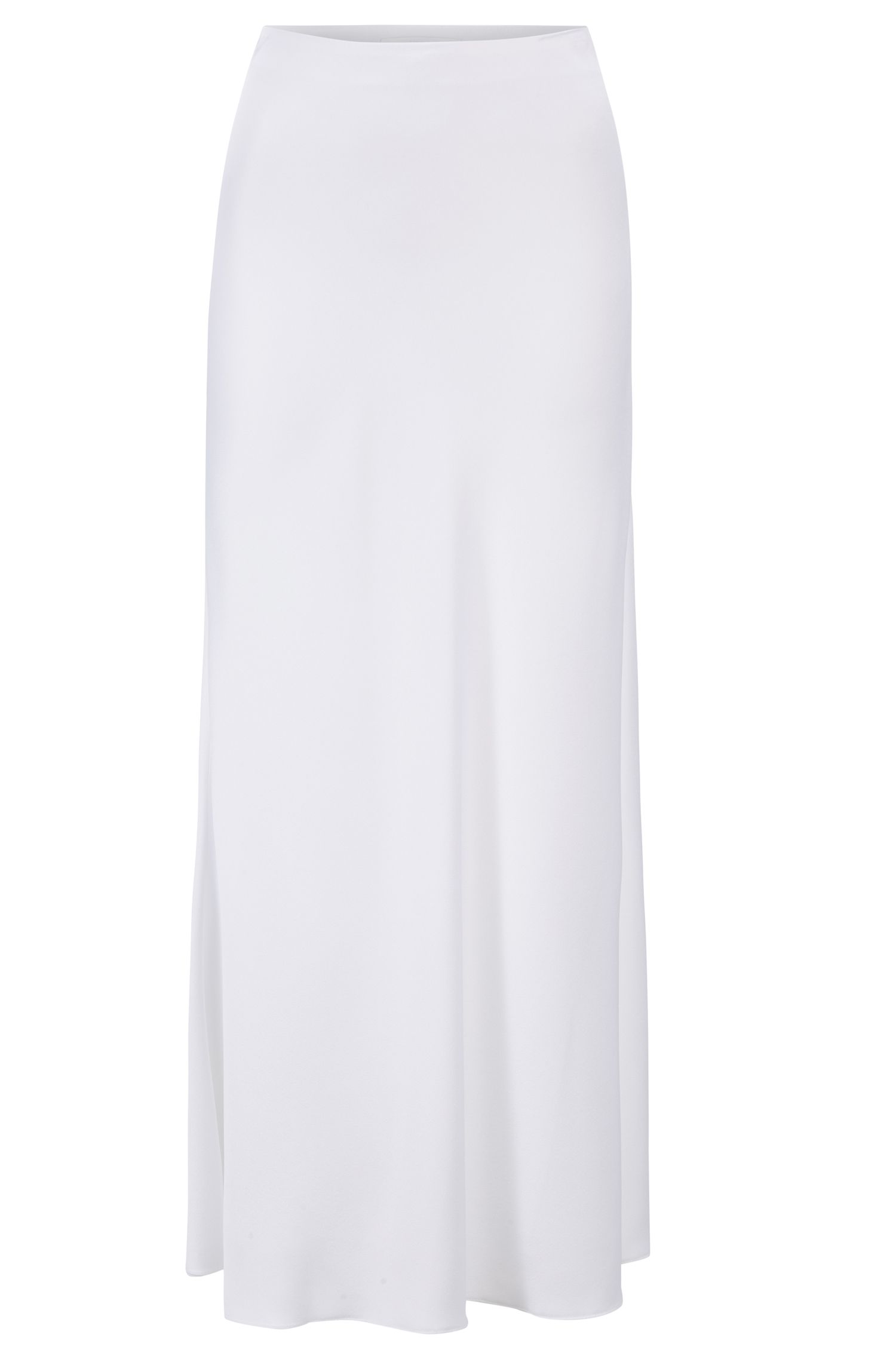 A-line maxi skirt in lustrous Italian fabric, White