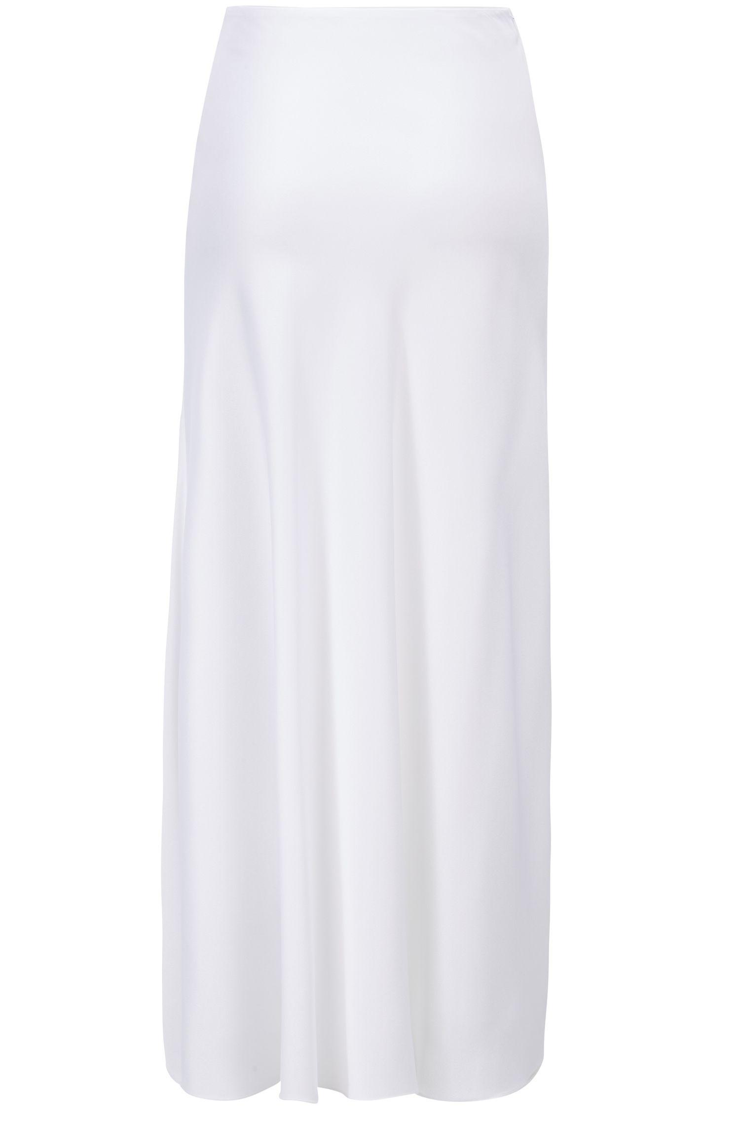 Maxirok in A-lijn van glanzend Italiaans materiaal, Wit