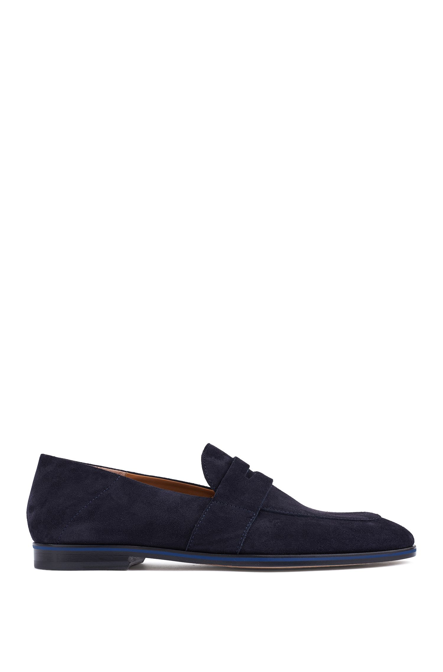 Italian-made loafers in calf suede with contrast midsole, Dark Blue