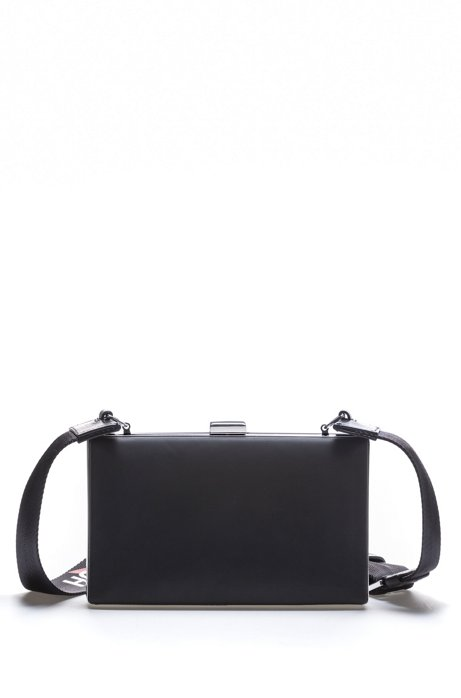d2ce601710bf5 HUGO - Crossbody bag in patent fabric with logo strap