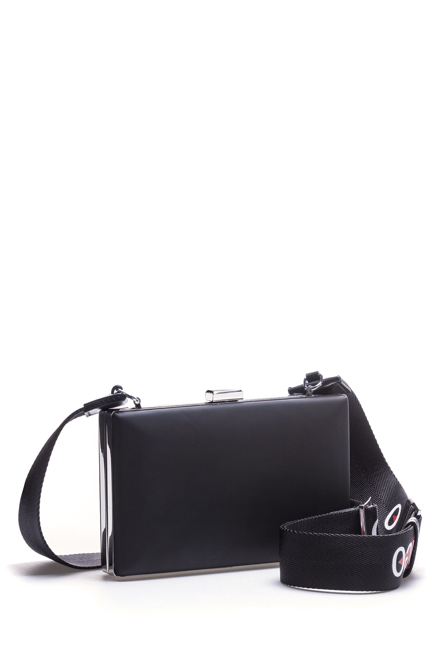 Crossbody bag in patent fabric with logo strap , Black