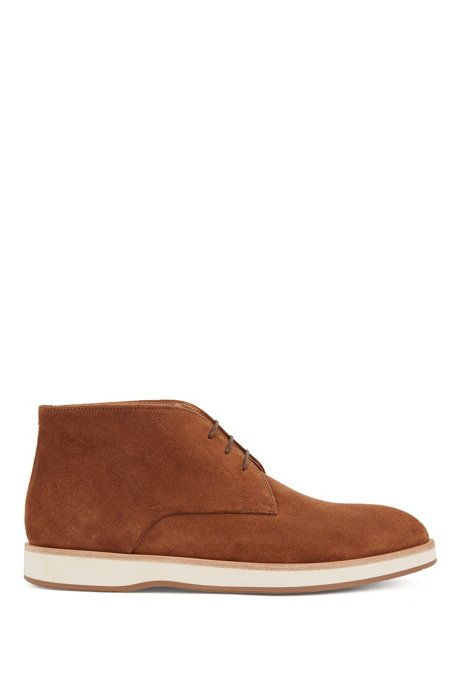Lace-up desert boots in suede with monogrammed sole, Dark Brown