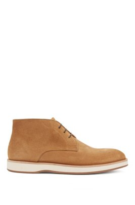 Lace-up desert boots in suede with monogrammed sole, Beige
