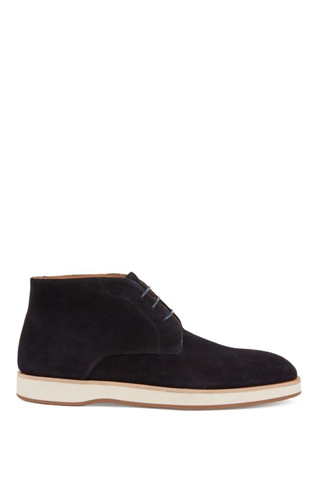 Lace-up desert boots in suede with monogrammed sole, Dark Blue
