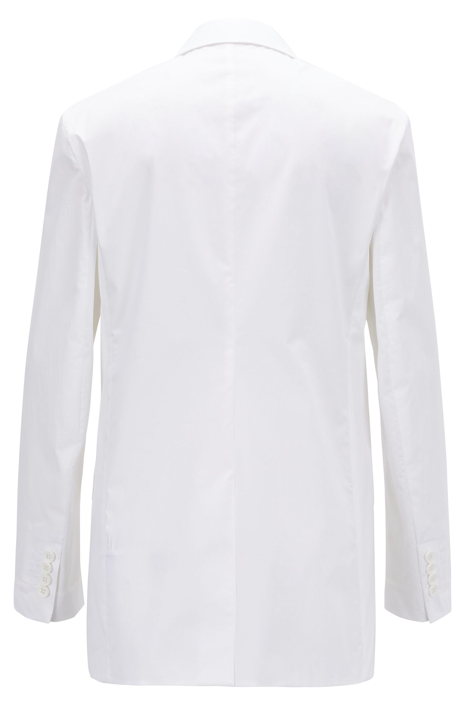 Relaxed-fit jacket in Portuguese paper-touch stretch cotton, White