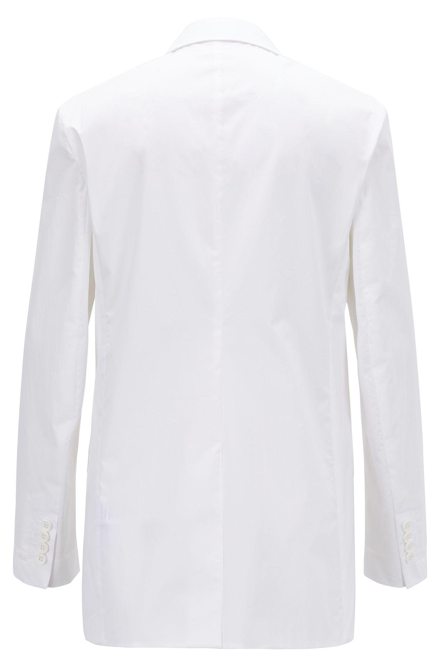 Relaxed-Fit Blazer aus portugiesischer Stretch-Baumwolle mit Paper-Touch-Effekt, Weiß