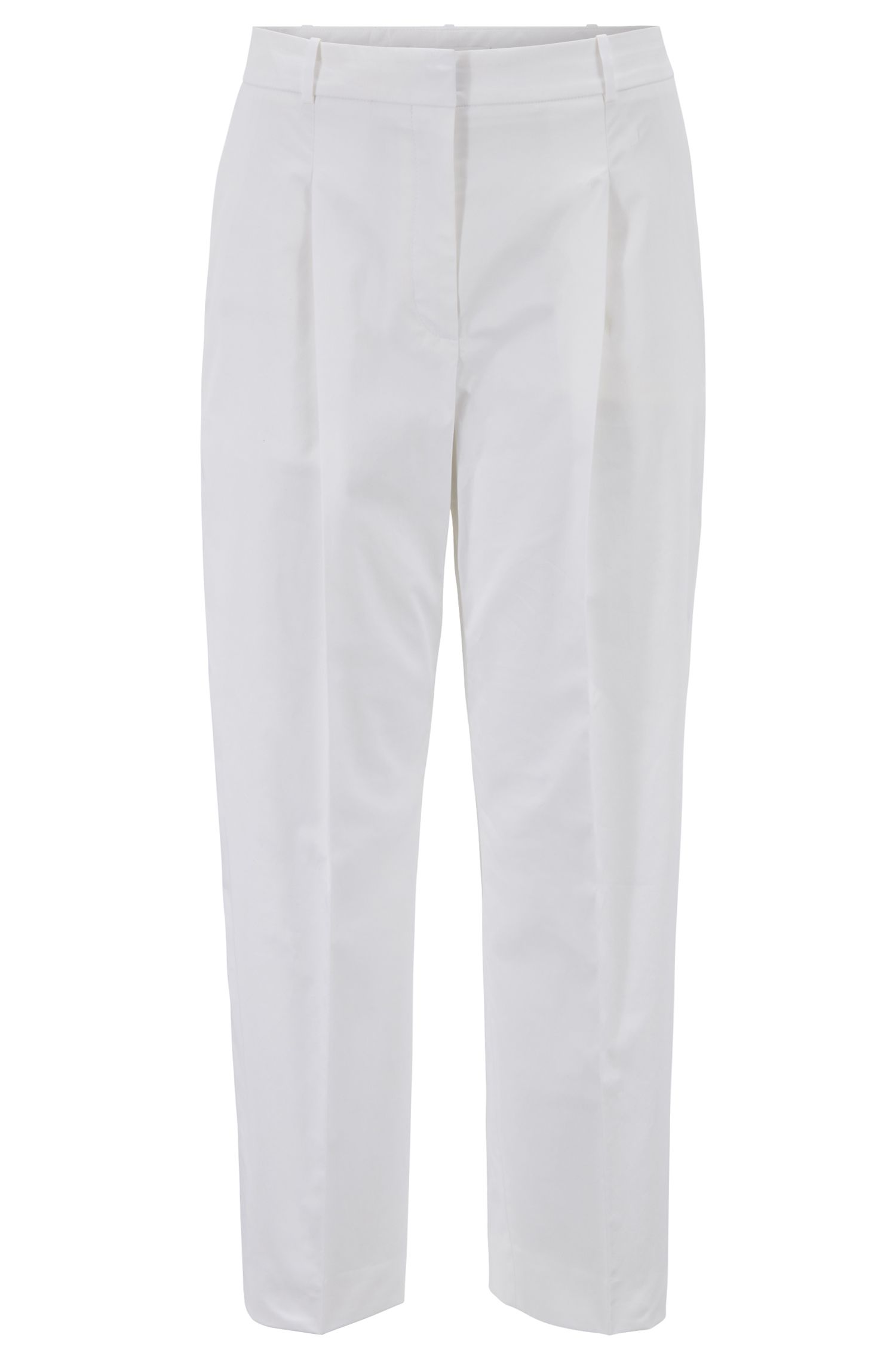 Pantalon court Relaxed Fit en coton stretch au toucher papier, Blanc