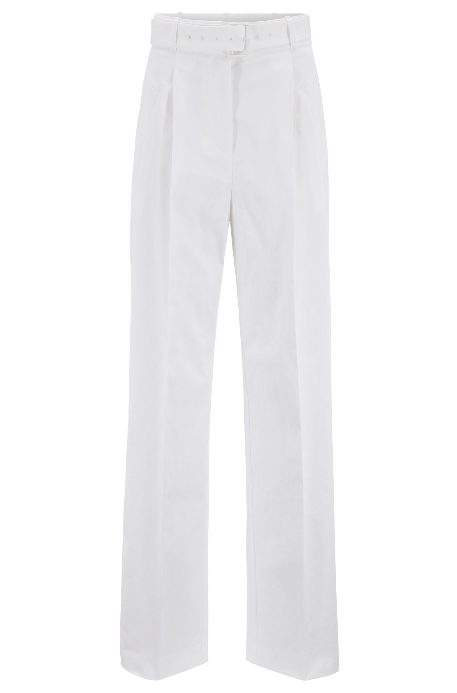 Belted wide-leg trousers in Portuguese stretch cotton, White