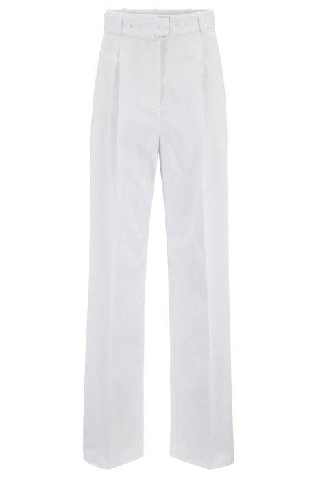 Pantaloni a gamba larga con cintura in cotone elasticizzato portoghese, Bianco