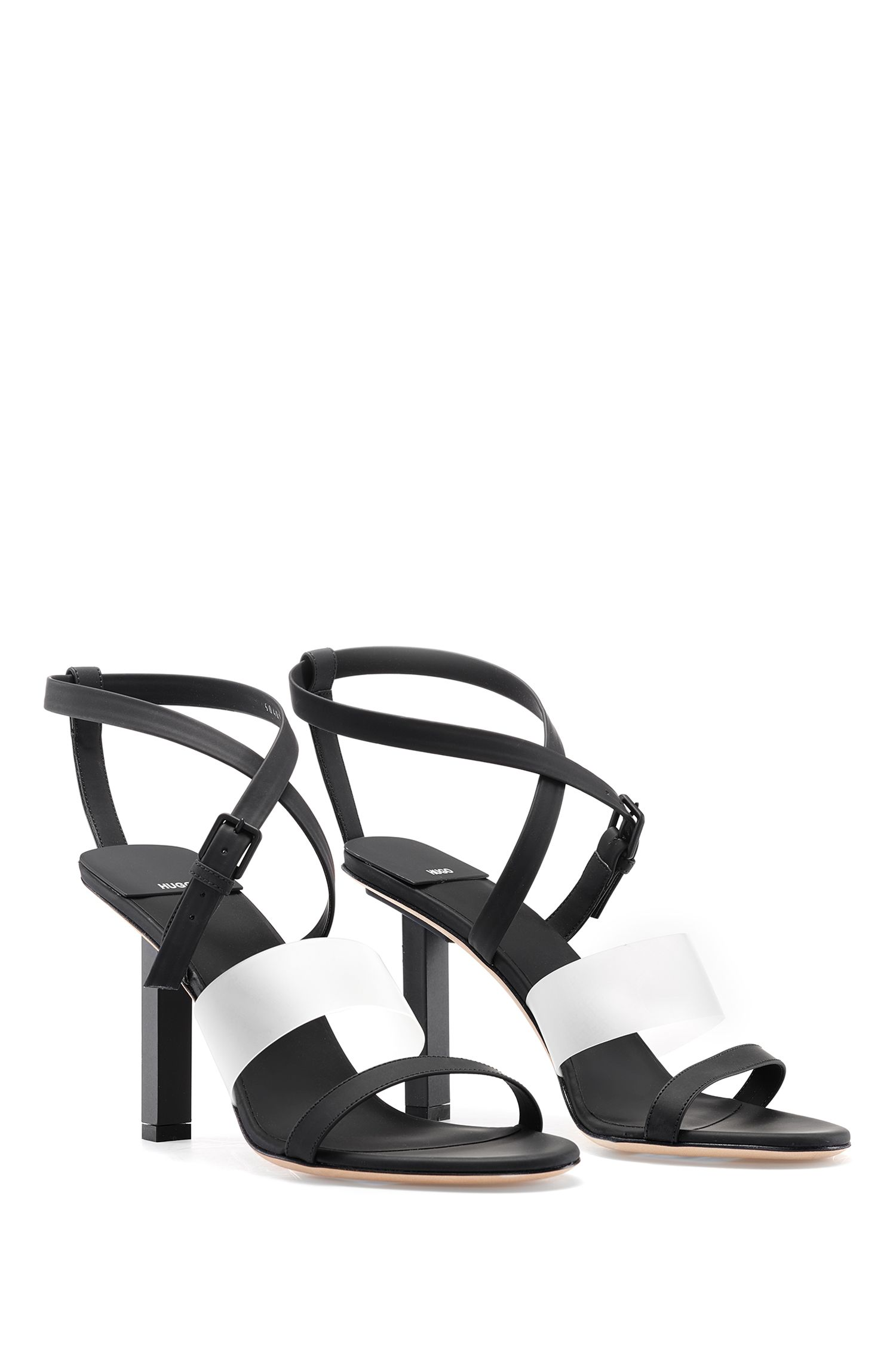 Italian-made strappy sandals with squared heel and logo, Black