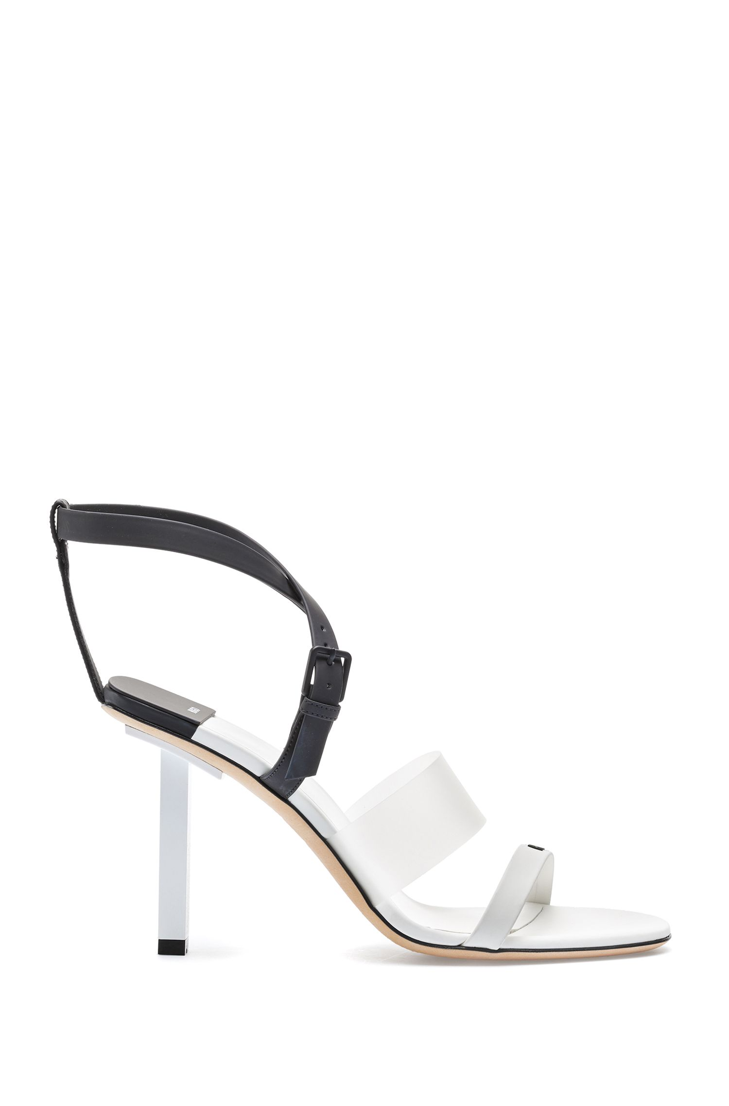 Italian-made strappy sandals with squared heel and logo, Natural