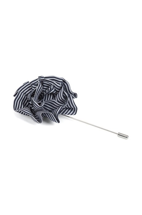 Flower lapel pin in striped silk, White