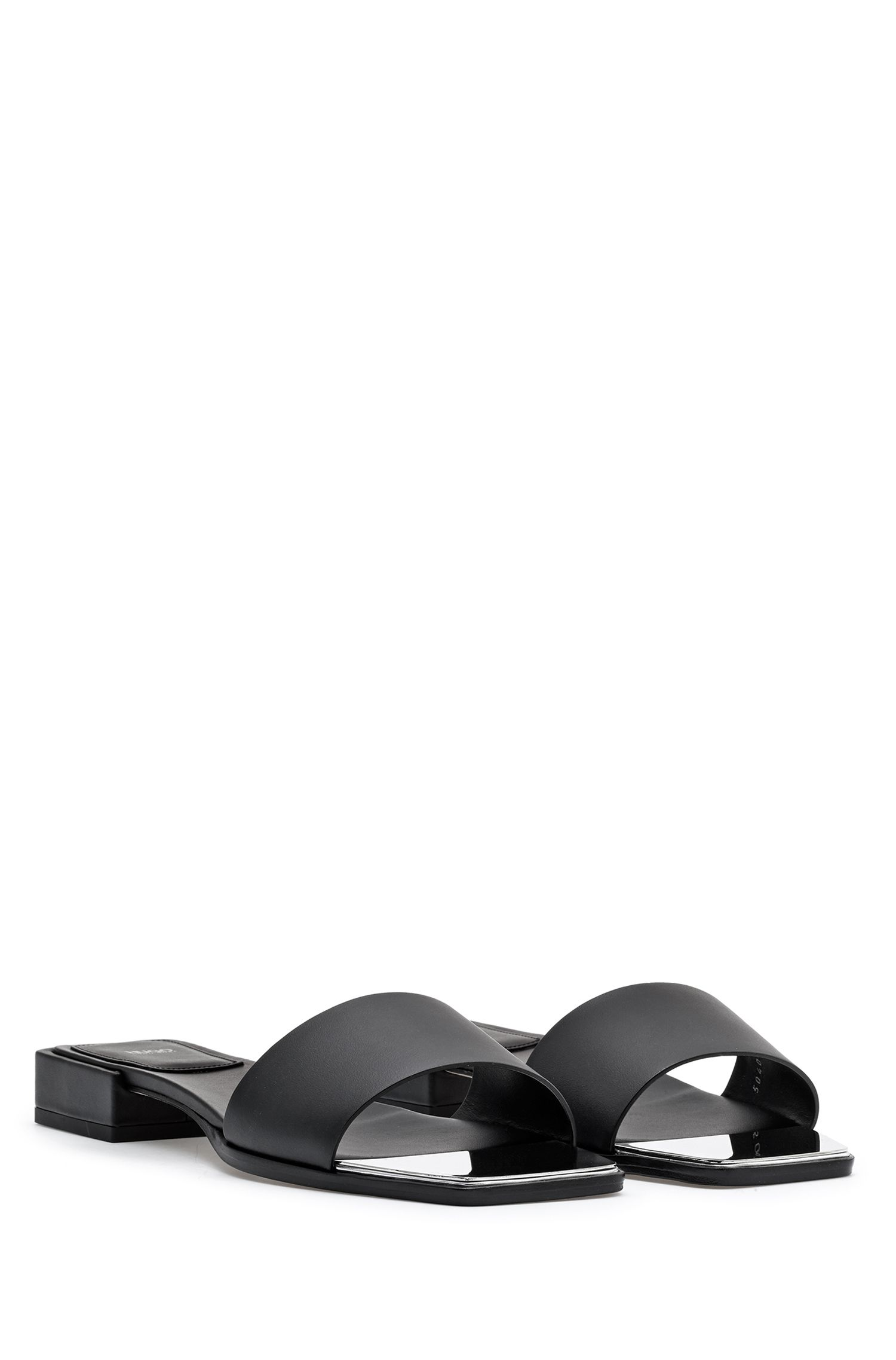 Slide sandals in Italian leather with metallic squared toe, Black