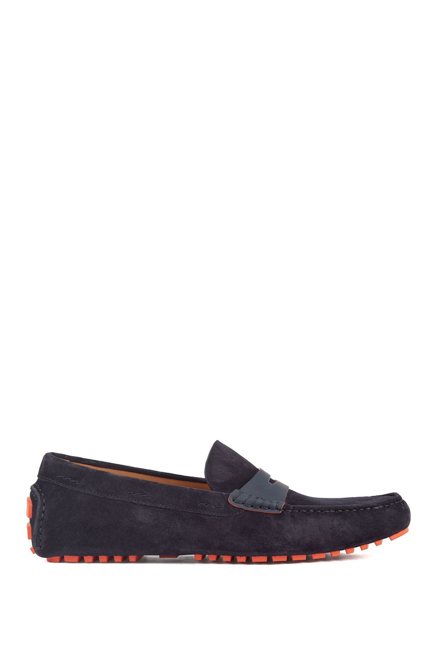 Italian-made moccasins in calf suede with penny trim, Dark Blue