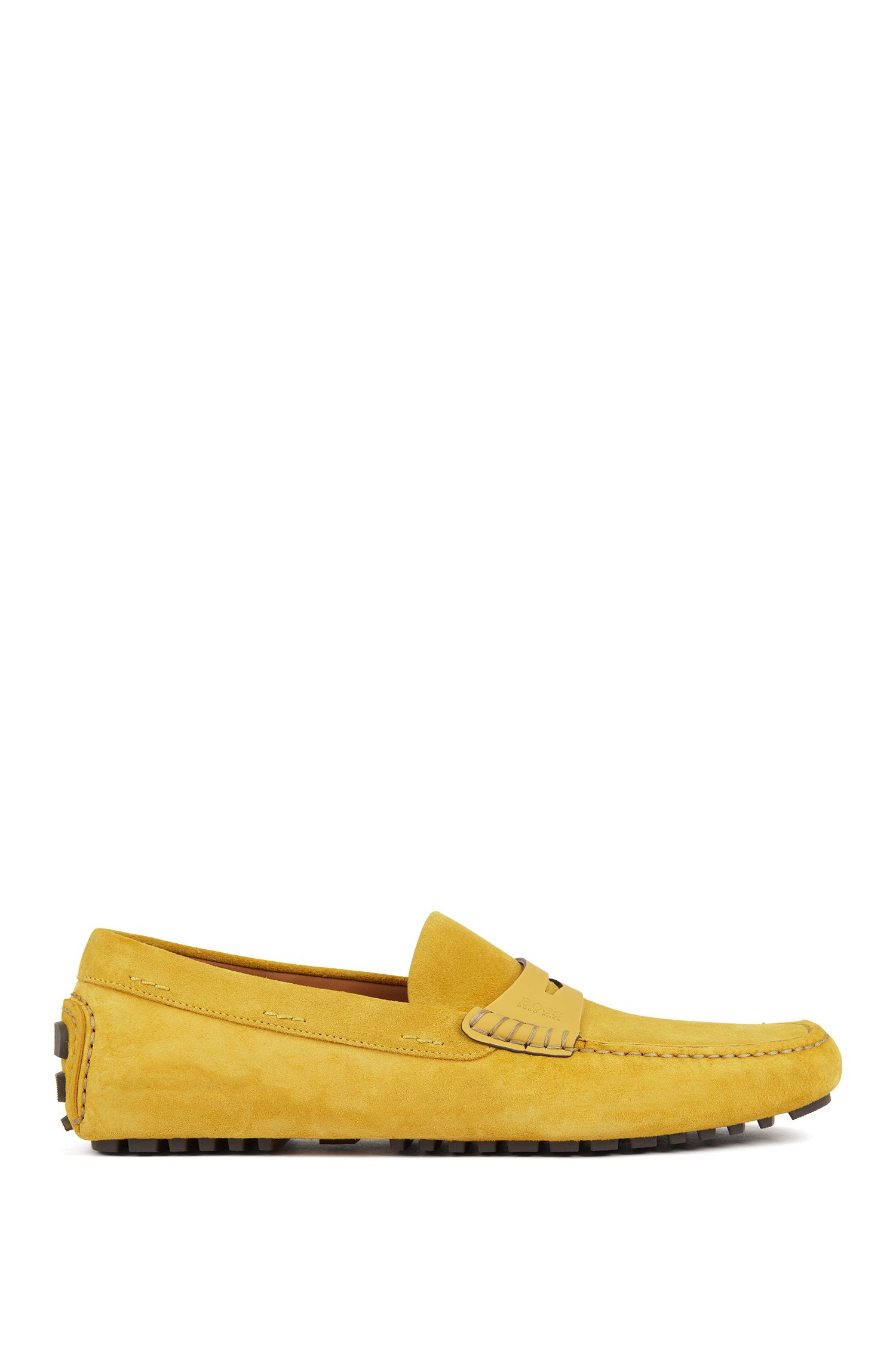 Italian-made moccasins in calf suede with penny trim, Yellow