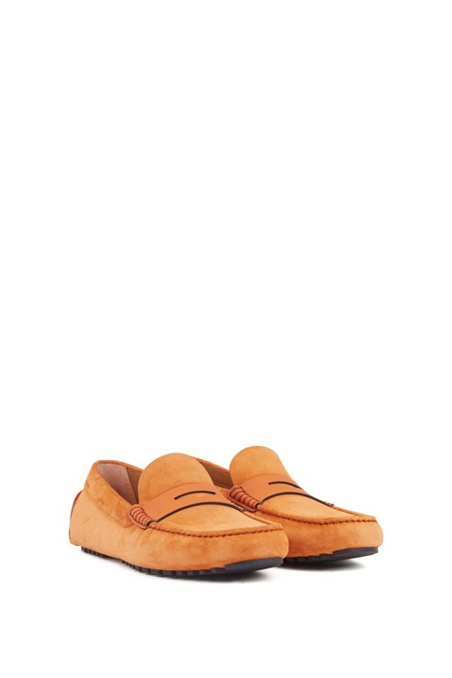 Hugo Boss - Italian-made moccasins in calf suede with penny trim - 2
